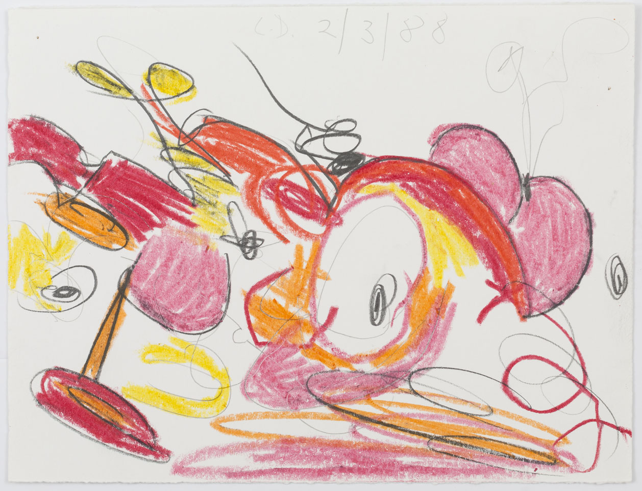 <i>Untitled (2/3/88)</i>, 1988, wax crayon and pencil on paper,7 5/8 x 10  inches (19.4 x 25.4 cm)